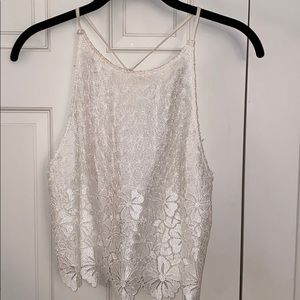 Alice & Olivia white lace crop top